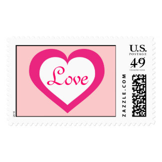 Love white and hot pink heart postage stamp