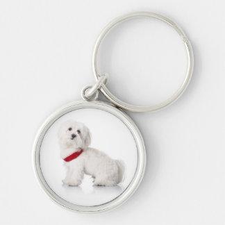 Love White Bichon Frise Puppy Dog Keychain Silver-Colored Round Keychain
