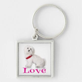 Love White Bichon Frise Puppy Dog Keychain