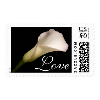 Love White Calla Lily Wedding RSVP Save The Date Postage