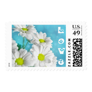 Love White Daisies Floral Blue Postage Stamps