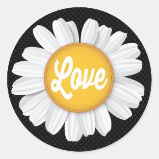 Love White Daisy Flower Black Floral Sticker