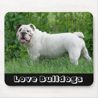 Love White Englsh Bulldog Pup in Grass Mouse Pad