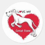 Love White Great Dane UC Classic Round Sticker