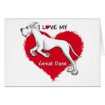 Love White Great Dane UC Greeting Card