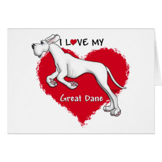 Love White Great Dane UC Greeting Cards