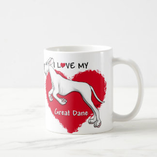 Love White Great Dane UC Mugs