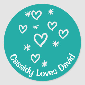 Love White Hearts Teal Blue Personalized Wedding Classic Round Sticker