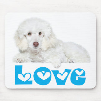 Love White Poodle Puppy Dog Hearts Mousepad