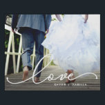 "Love White Script Faux Canvas Print<br><div class=""desc"">Beautiful modern white script design featuring the word &quot;love&quot; placed over your favorite photo. Optional names below.</div>"