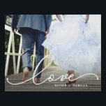 """Love White Script Faux Canvas Print<br><div class=""""desc"""">Beautiful modern white script design featuring the word """"love"""" placed over your favorite photo. Optional names below.</div>"""
