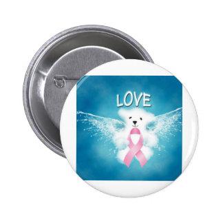 LOVE White Teddy Bear Pink Heart Ribbon Pin