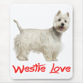 Love White West Highland Terrier Dog Mousepad
