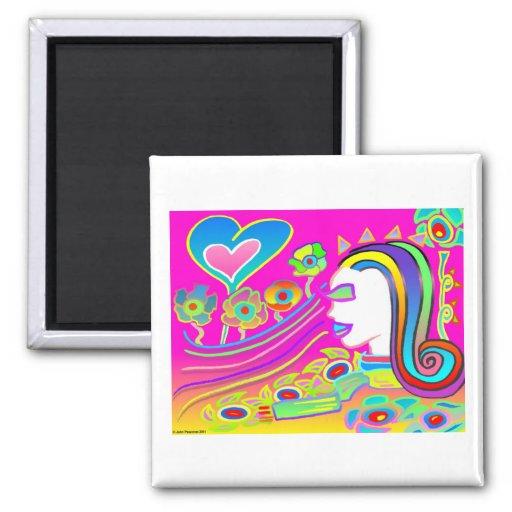Love Will Blossom: Dream Space 2 Inch Square Magnet