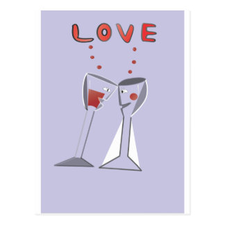 Love Wine Glasses Postcard