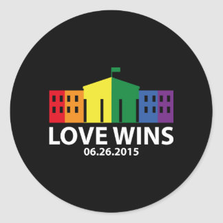 Love Wins Classic Round Sticker