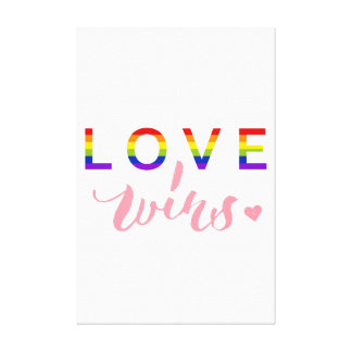 Love Wins - Hand Lettering Typography Design Canvas Print
