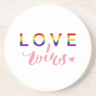 Love Wins - Hand Lettering Typography Design Sandstone Coaster