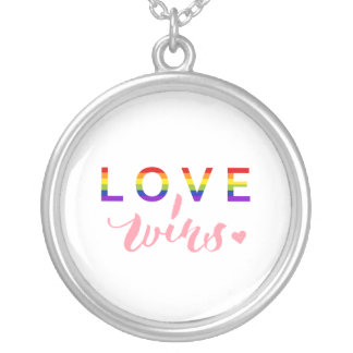 Love Wins - Hand Lettering Typography Design Silver Plated Necklace