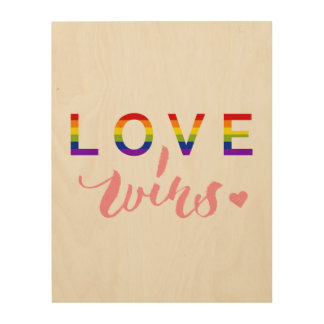 Love Wins - Hand Lettering Typography Design Wood Wall Decor