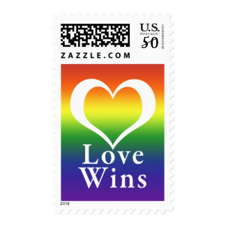 Love Wins Heart Rainbow Postage