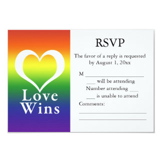 Love Wins Heart Rainbow RSVP Card