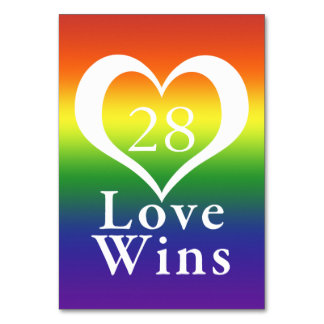 Love Wins Heart Rainbow Wedding Table Card