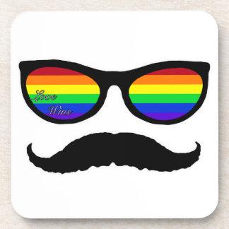 love wins mustache beverage coaster
