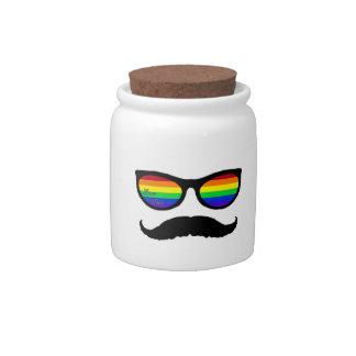 love wins mustache candy jar