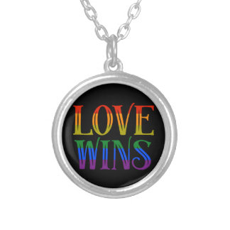 Love Wins Pendant, Marriage equality, pride lgbt Silver Plated Necklace