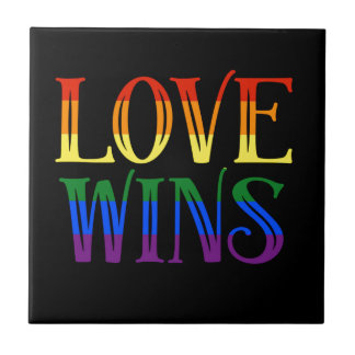 Love Wins, Pride Flag, LGBT, Marriage Equality Small Square Tile