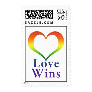 Love Wins Rainbow Heart Postage