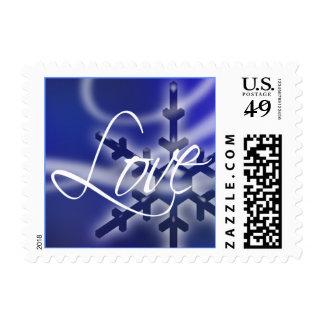 Love Winter Blue White Snowflake Wedding Holidays Postage