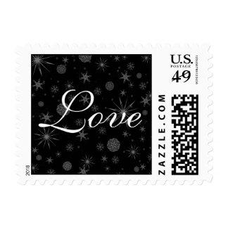 Love Winter Snowflakes Stars Black White Wedding Postage