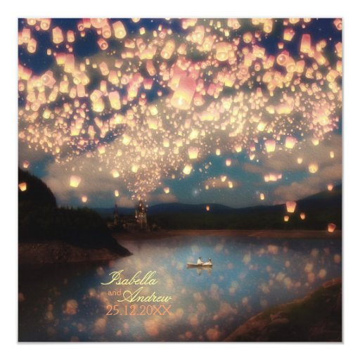 """Love Wish Lanterns 5.25"""" Square Invitation Card"""
