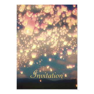 "Love Wish Lanterns -  Birthday Invitation 5"" X 7"" Invitation Card"