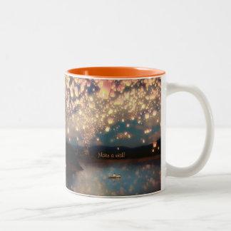 Love Wish Lanterns Two-Tone Coffee Mug