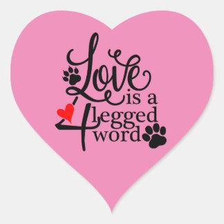 Love With 4 Legs Heart Sticker