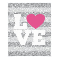 Love with a bright pink heart and Silver Glitter Flyer