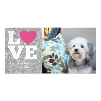 Love with a bright pink heart and Silver Glitter Picture Card