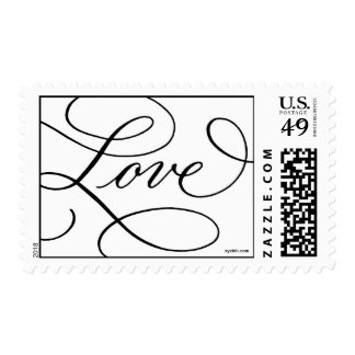 Love ... with a Flourish : Black and White Postage
