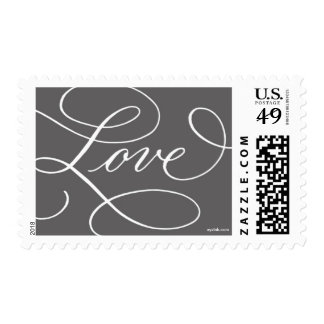 Love ... with a Flourish : Charcoal and White Postage Stamp