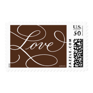 Love ... with a Flourish : Chocolate Brown & White Postage