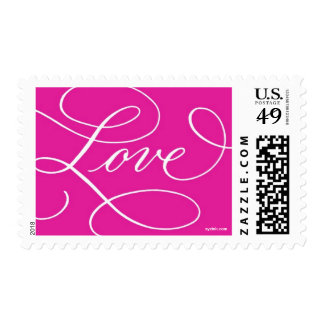 Love ... with a Flourish : Hot PInk and White Postage Stamp