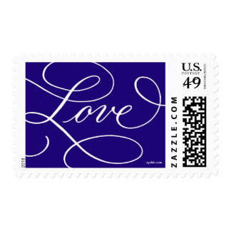 Love ... with a Flourish : Navy and White Postage
