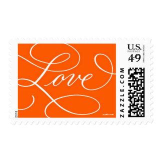 Love ... with a Flourish : Orange & White Postage