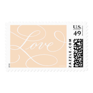 Love ... with a Flourish : Peach and White Postage Stamps