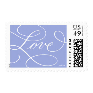 Love ... with a Flourish : Periwinkle and White Postage