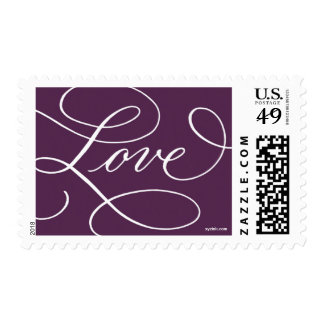 Love ... with a Flourish : Plum and White Postage