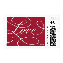 Love ... with a Flourish : Red and White Postage Stamps